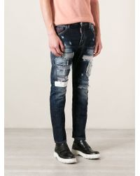 DSquared² - Blue Patchwork Jeans for Men - Lyst