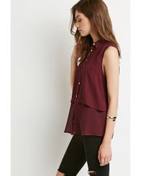 Forever 21 - Purple Layered Chiffon Shirt - Lyst
