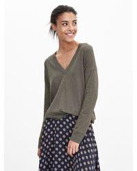 Banana Republic | Green Cotton/cashmere Vee Pullover | Lyst