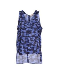 Rebecca Taylor - Blue Abstract-print Silk V-neck Tank - Lyst