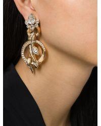 Roberto Cavalli | Metallic Rolled Snakes Hoops Earrings | Lyst