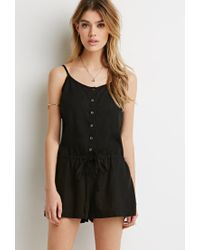 Forever 21 | Black Button-front Drawstring Romper | Lyst
