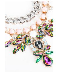 Missguided - Multicolor Zoha Embellished Double Layer Necklace Multi - Lyst