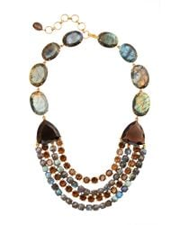 Bounkit | Multicolor Labradorite And Smoky Topaz String Necklace | Lyst