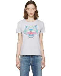 KENZO - Gray Grey Tiger Logo T-shirt - Lyst