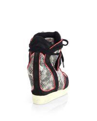Ash - Brendy Snakeskin Leather Wedge Sneakers - Lyst