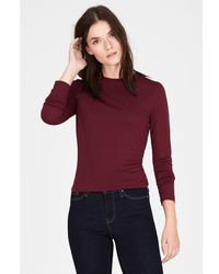 Warehouse - Red Crew Neck Jersey Top - Lyst