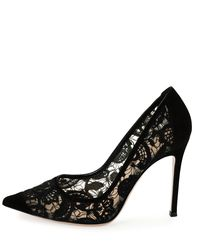 Gianvito Rossi - Black Suede & Lace 105mm Pump - Lyst