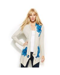 INC International Concepts - White Petite Draped Floralprint Sequined Cardigan - Lyst