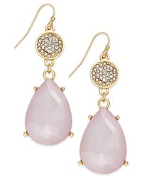 INC International Concepts | Gold-tone Pink Stone Pavé Double Drop Earrings | Lyst