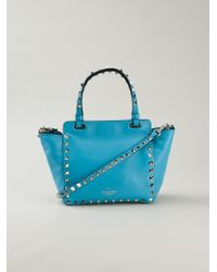 Valentino - Blue Mini Rockstud Leather Trapeze Tote - Lyst