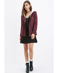 Forever 21 - Purple Hooded Plush Jacket - Lyst