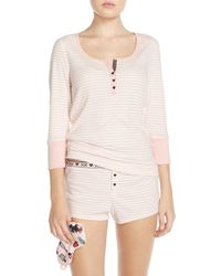 Betsey Johnson | Pink Ribbed Pajamas & Sleep Mask | Lyst