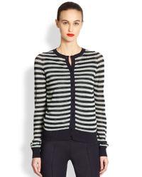 Akris Punto | Blue Striped Mesh Knit Cardigan | Lyst