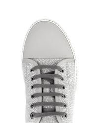 Lanvin - Gray Lizard-Effect Leather Sneakers for Men - Lyst