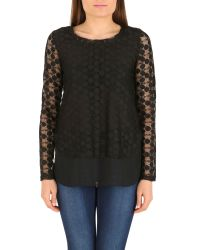Izabel London | Black Double Layered Net Top | Lyst