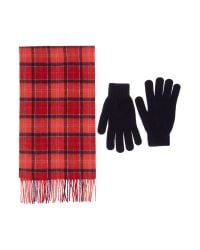 Barbour - Red Scarf And Glove Gift Box Set - Lyst