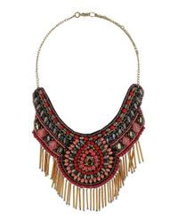 TOPSHOP - Pink Gold Tube Beaded Bib Necklace - Lyst