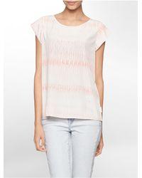 Calvin Klein | Natural Jeans Rain Drop Print Cap Sleeve Top | Lyst