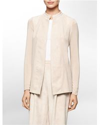 Calvin Klein | Pink White Label Ultra Suede Open Front Lightweight Jacket | Lyst