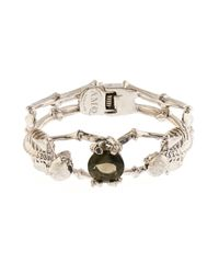 Alexander McQueen | Metallic Double-Skeleton Crystal Bracelet | Lyst