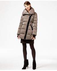 Vera Wang | Natural Coat Velvet-trim Asymmetrical Puffer Coat | Lyst