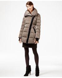 Vera Wang - Natural Coat Velvet-trim Asymmetrical Puffer Coat - Lyst