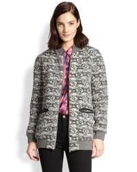 Thakoon Addition - Gray Zip-Front Tweed Jacket - Lyst