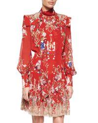 Roberto Cavalli - Red Floral-print Tie-neck Dress - Lyst