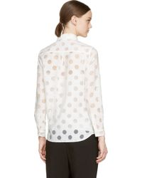 Burberry | White Sheer Polka Dot Blouse | Lyst