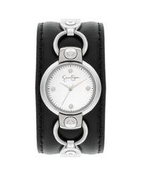 Jessica Simpson | Metallic Womens Black Leather Cuff Strap Watch 30mm Js027b | Lyst