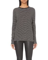 VINCE | Black Striped Long-sleeved Top | Lyst