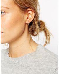 ASOS - Metallic Sterling Silver Mini Triangle Hoop Earrings - Lyst