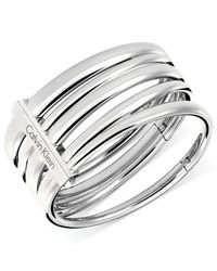 Calvin Klein | Metallic Stainless Steel Multi-Row Hinged Bracelet | Lyst