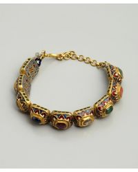 Amrapali - Metallic Navratan and Gold Painted Setting Bracelet - Lyst