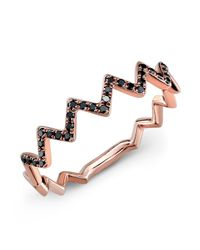 Anne Sisteron | Pink 14kt Rose Gold Black Diamond Zig Zag Stacking Ring | Lyst