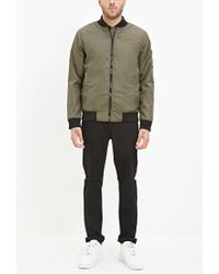 Forever 21 - Green Zipped-sleeve Bomber Jacket for Men - Lyst