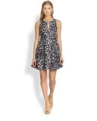 Joie | Gray Tavie Printed Silk Dress | Lyst