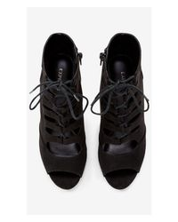 Express - Black Faux Suede Lace-up Bootie - Lyst
