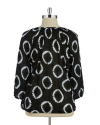 MICHAEL Michael Kors | Black Plus Tie-dye Ring Top | Lyst