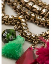 Sveva Collection - Metallic Embellished Chain Tassel Necklace - Lyst