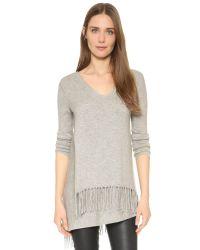 Ella Moss - Gray Selena Fringe Sweater - Lyst