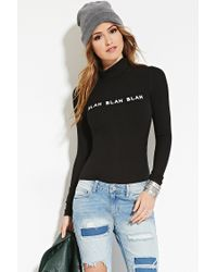 Forever 21 - Black Blah Graphic Turtleneck - Lyst