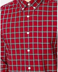 ASOS | Red Check Shirt In Long Sleeve for Men | Lyst