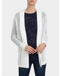 White + Warren | White Lace Chevron Sweater | Lyst