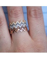 Anne Sisteron - Pink 14kt Rose Gold Diamond Zig Zag Stacking Ring - Lyst