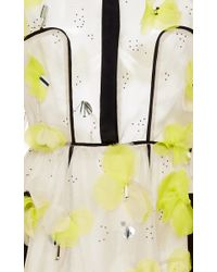 Lela Rose - Yellow Floral Embroidery Dress - Lyst