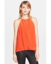 Trina Turk | Orange 'bria' High Neck Silk Top | Lyst