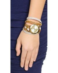 Sara Designs | Brown Printed Leather & Chain Wrap Bracelet - Ivory/Gold | Lyst