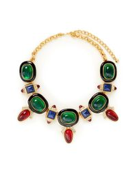 Kenneth Jay Lane | Metallic Art Deco Crystal Stone Necklace | Lyst